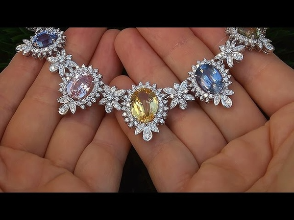GIA Certified UNHEATED Natural Fancy Color Sapphire Diamond Necklace 18k White Gold - A141638