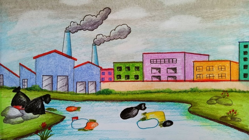 How to draw scenery of Environmental Pollution.Step by step(easy draw)