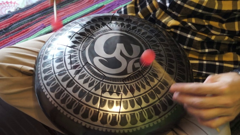 Hijazz (Phrygian Dominant) Handmade steel tongue drum with Aum mandala