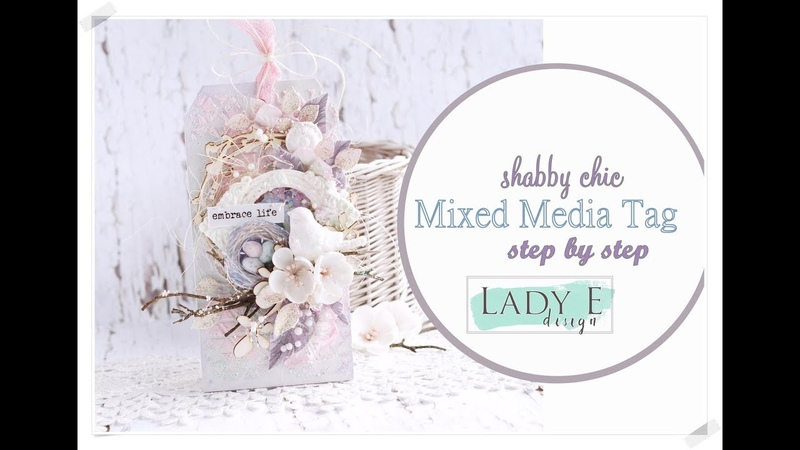 Shabby Chic Mixed Media Tag in Soft Pastel Colours Step by step