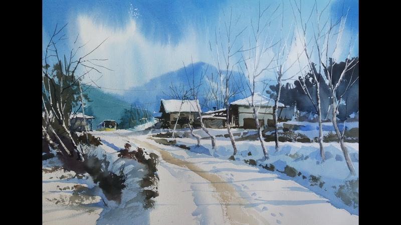 Lets draw a landscape of snow choe SSi art studio최병화수채화水彩畵 -설경 그리기