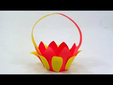 Paper Flower Basket Making With Color Paper - DIY Easy Paper Basket