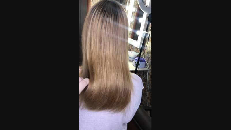 Уход для волос холодный ботокс cadiveu🤤волосы после процедуры утюгом не вытягивались☝️просто высушили феном