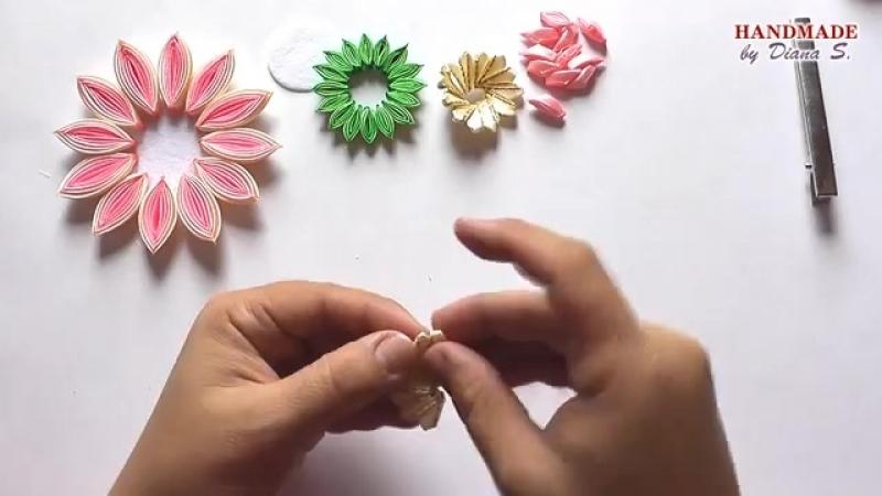 Заколка Многослойный лепесток из ленты 2 5 см Канзаши МК DIY Hair clip K