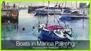 Eng sub Boats in Marina Painting Easy Tutorial 水彩でヨットハーバーの風景を描くコツ〜初心者講座