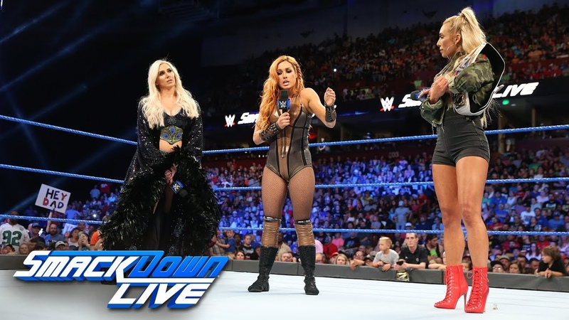 Charlotte Flair, Becky Lynch and Carmella come face to face SmackDown LIVE, Aug. 14, 2018