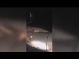 Видео из салона горящего ТУ 204 в Уфе