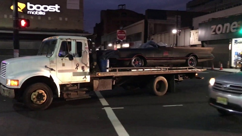 QUICK GLIMPSE OF CURRENT BATMOBILE BEING USED IN FILMING OF NEW JOKER MOVIE IN NEWARK, NJ.