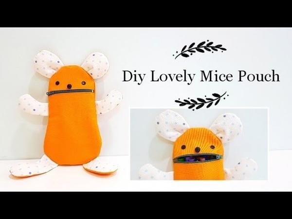 Diy Lovely Mice Pouch   Free Template Download【像狗狗的小老鼠拉链笔袋教学】HandyMum❤❤