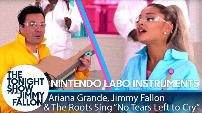 Ariana Grande, Jimmy The Roots Sing No Tears Left to Cry w Nintendo Labo Instruments