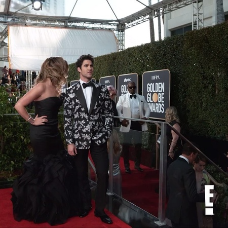 """E! News on Instagram: """"The GoldenGlobes may be all about Darren Criss tonight, but his Glambot is all about his fiancée. Link in bio for all the r..."""