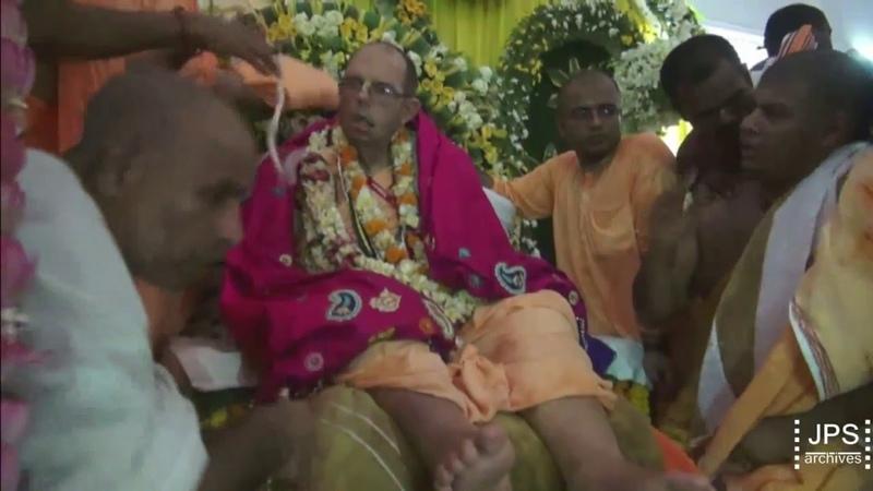 2016 H.H.Jayapataka Swami Vyasa Puja - Foot Bathing, Pushpanjali Aarti.