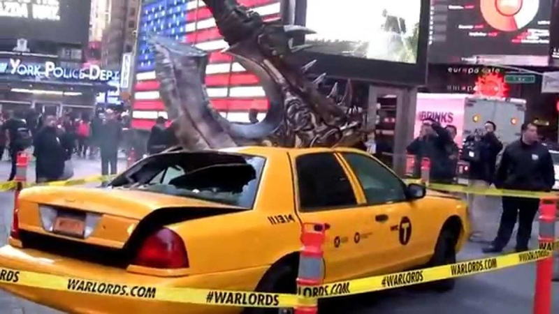 Warlords of Draenor NYC Launch - Gorehowl Axe On Taxi