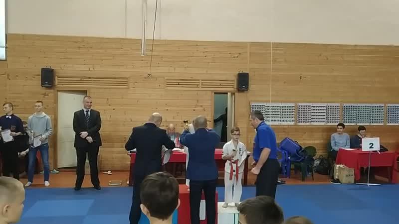 Награждение чемпионов Санкт-Петербурга категория 8-9 лет до 25 кг. 2-ое место Кудряшов Илья.