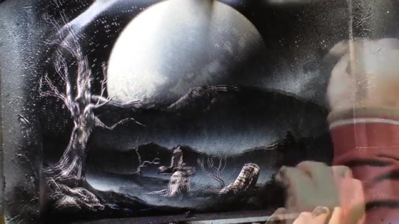Haunted house spray Painting