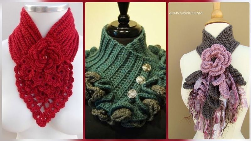 Handmade crochet scarf with flowers/cowl neck scarf