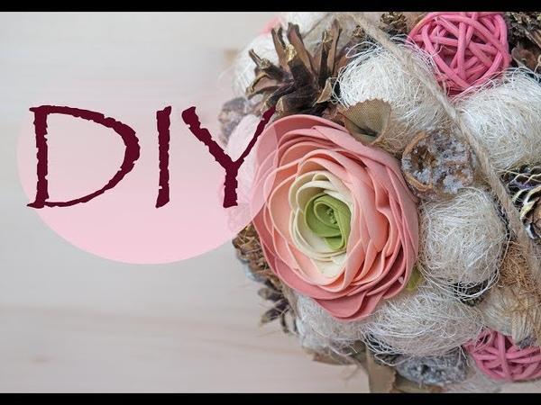 Топиарий из сухоцветов и фоамирана Topiary of dried flowers and foamirana