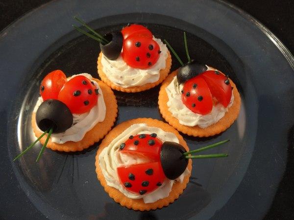 Fun with food Ladybug cracker appetizers