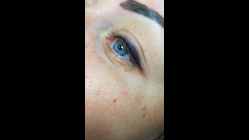 Перманентный макияж век-Стрелка с теневой растушевкой.