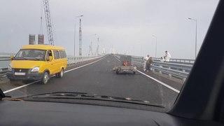 Крымский мост до официального открытия и запуска в эксплуатацию.