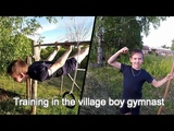 Training in the village boy gymnast.