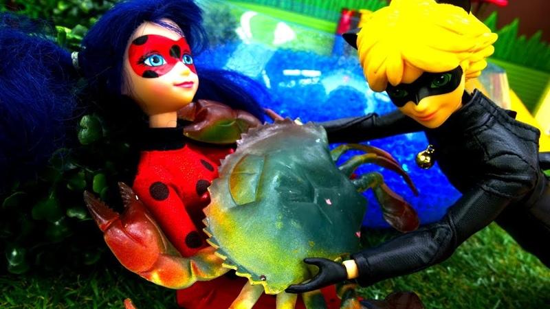 Muñecas de Barbie y Ladybug van a pescar. Vídeos para niñas.
