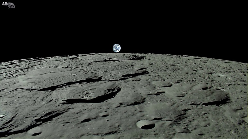 Earthrise Planet Earth Seen From The Moon Real Time Journey Across The Lunar Surface