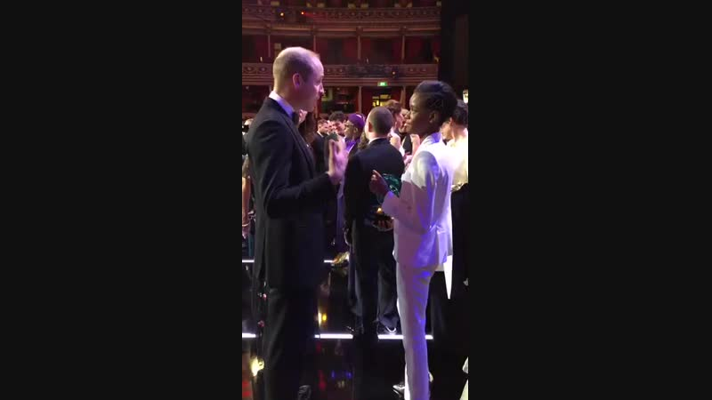 The Duke of Cambridge, @BAFTA President, congratulates Letitia Wright, Winner of the Rising Star Award. EEBAFTAs.mp4