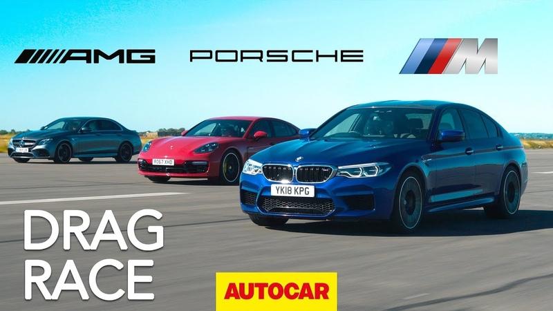 Drag race BMW M5 v Mercedes AMG E63 S v Porsche Panamera Turbo S E Hybrid Autocar