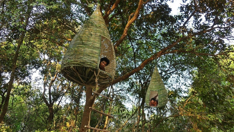 Building Bamboo Nest House Tree House By ancient skills