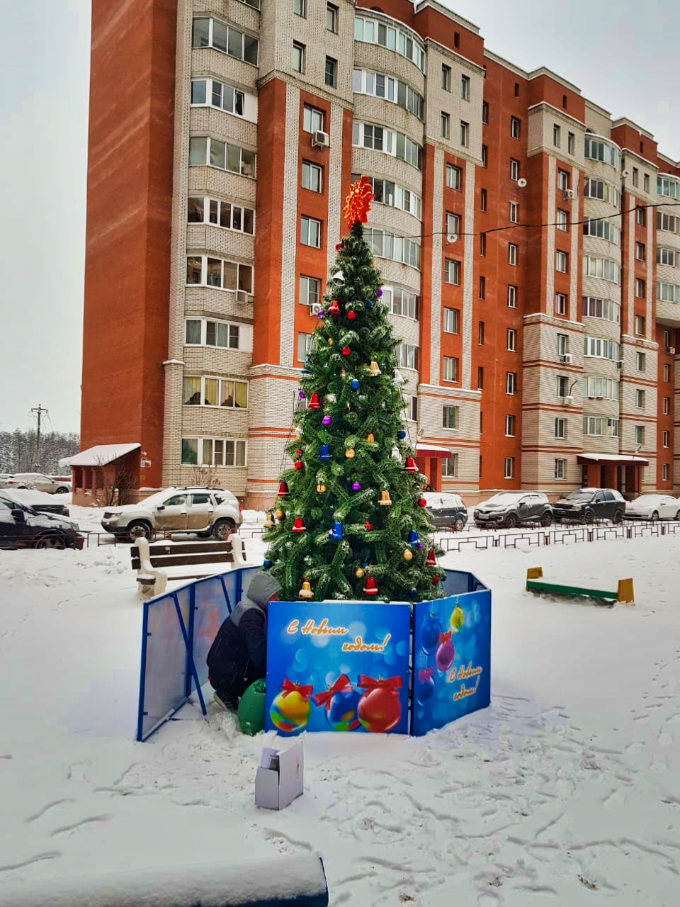 Установили новогоднюю ёлку во дворе на Чкалова, 5