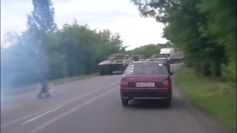 Енакиево. Танки, САУ 2С1 Гвоздика 15.07.2014