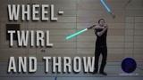 Radwirbel einseitig und Wurf - Wheel-Twirl and throw - Dual Lightsaber Trick