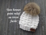TUTO BONNET POINT RELIEF TRICOT Beanie hat relief knitting GORRO PUNTO RELIEVE DOS AGUJAS