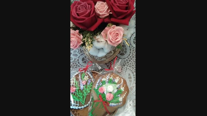 Цветочная композиция в берестяной шкатулке с набором пряников 🌹♥️