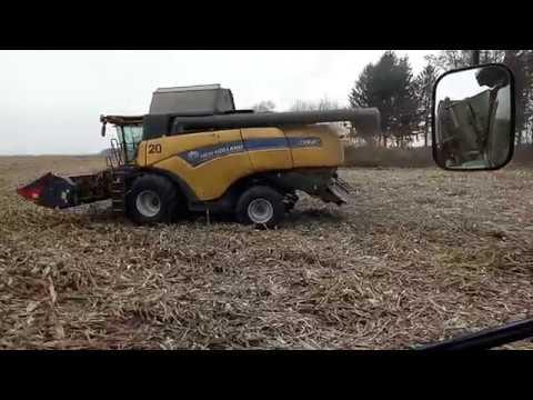Комбайн NEW HOLLAND CX 8 80 JOHN DEERE 8335R harvesting corn