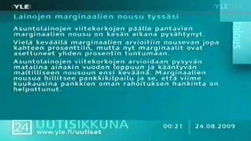 Конец эфира и начало перегона (YLE TV1 [Финляндия], 23.08.2009)