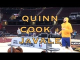 Quinn Cook and JaVale McGee splashing at practice in Cleveland, day before 2018 NBA Finals G4