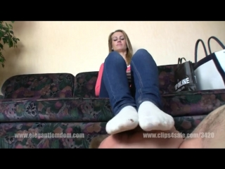 Footstool worship white socks Mistress Demona
