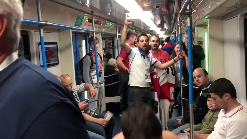 England - Colombia. Fight in Moscow metro
