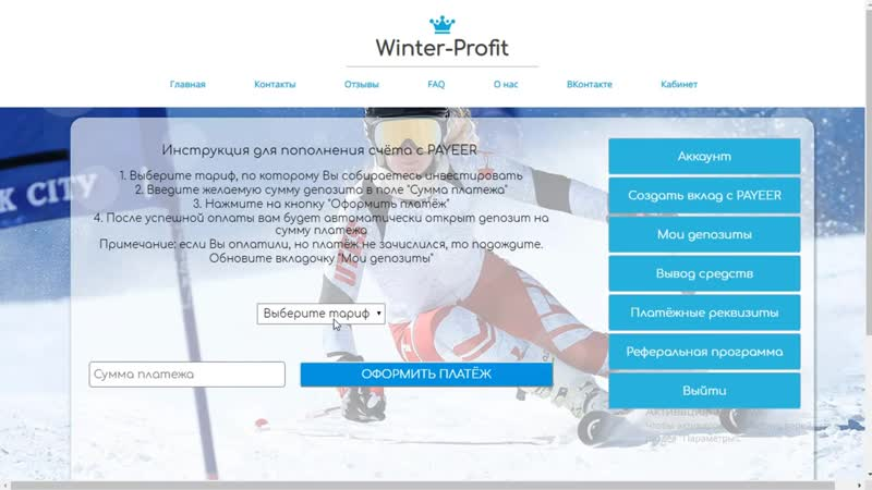 Свежий инвестиционный проект Winter Profit Заработай 50 за 24 часа Вложил 100