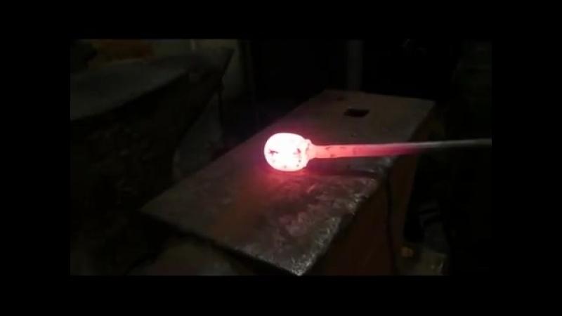 Якутский нож из шарика от подшипника. Весь процесс