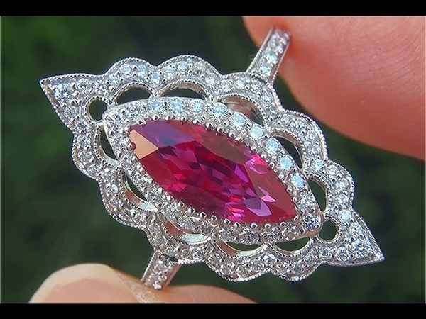 GIA Certified UNHEATED Natural VVS Red Ruby Diamond PLATINUM Cocktail Ring TOP GEM - C602