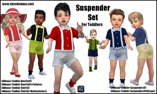 Toddler Suspender Set by Sims4Nexus