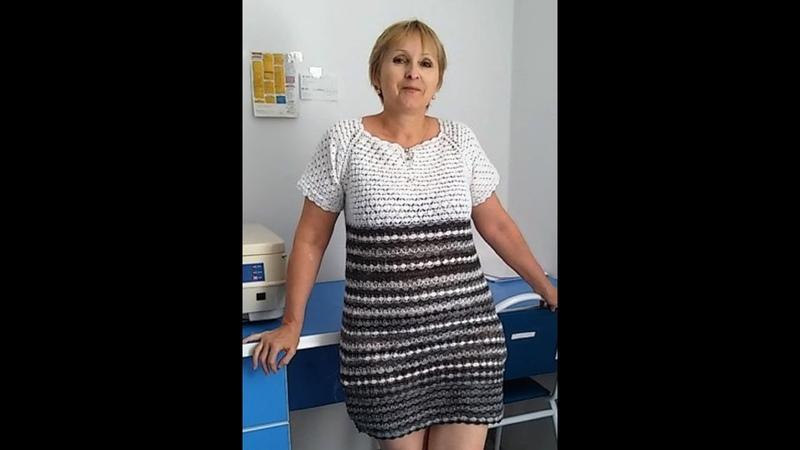 Летнее платье крючком Пряжа Alize miss хлопок Обзор