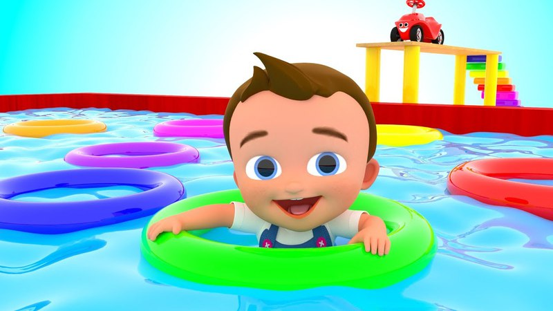 Colors for Children to Learning with Little Baby Fun Play with Swim Rings Pool 3D Kids Educational