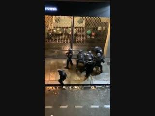 Насилие полиции по отношению к протестующим в желтых жилетках в Париже.