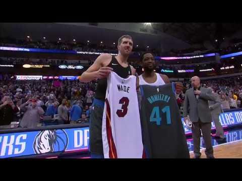 Dwyane Wade Swaps Jerseys With Dirk Nowitzki - Heat vs Mavericks | February 13, 2019