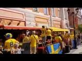 Калинка-малинка в шведском исполнении.Болельщики скандируют Спасибо, Россия.