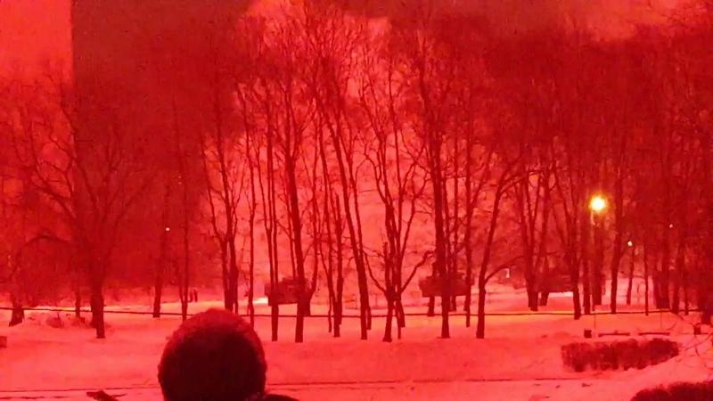 Взрыв салюта в кабине Машины, с которой производился пуск. Парк Дружбы, 23.02.2019